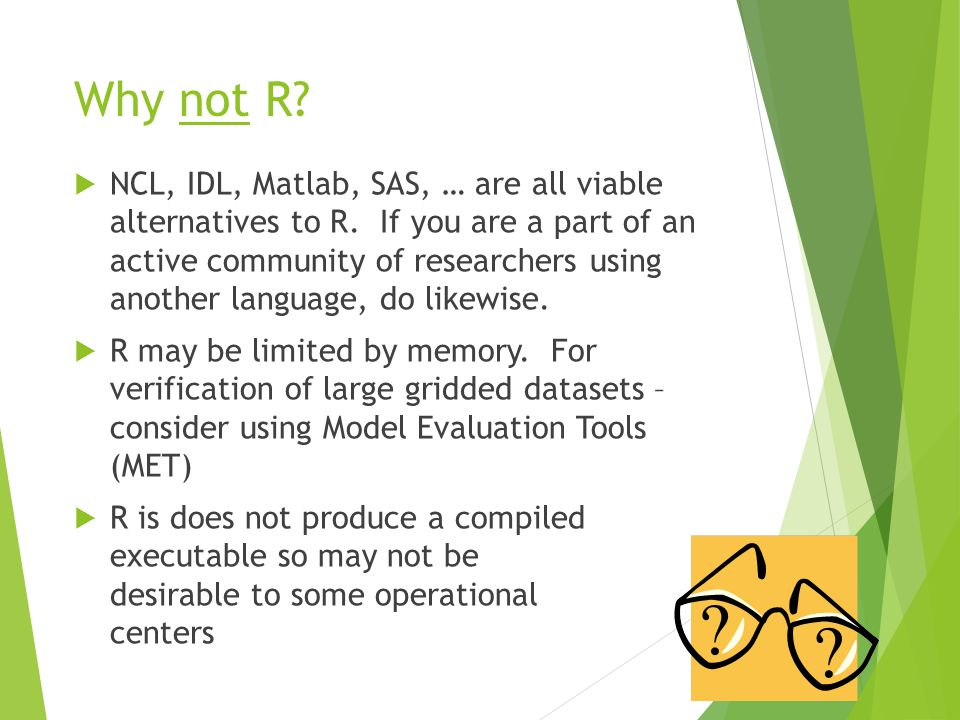 Why not R.  NCL, IDL, Matlab, SAS, … are all viable alternatives to R.