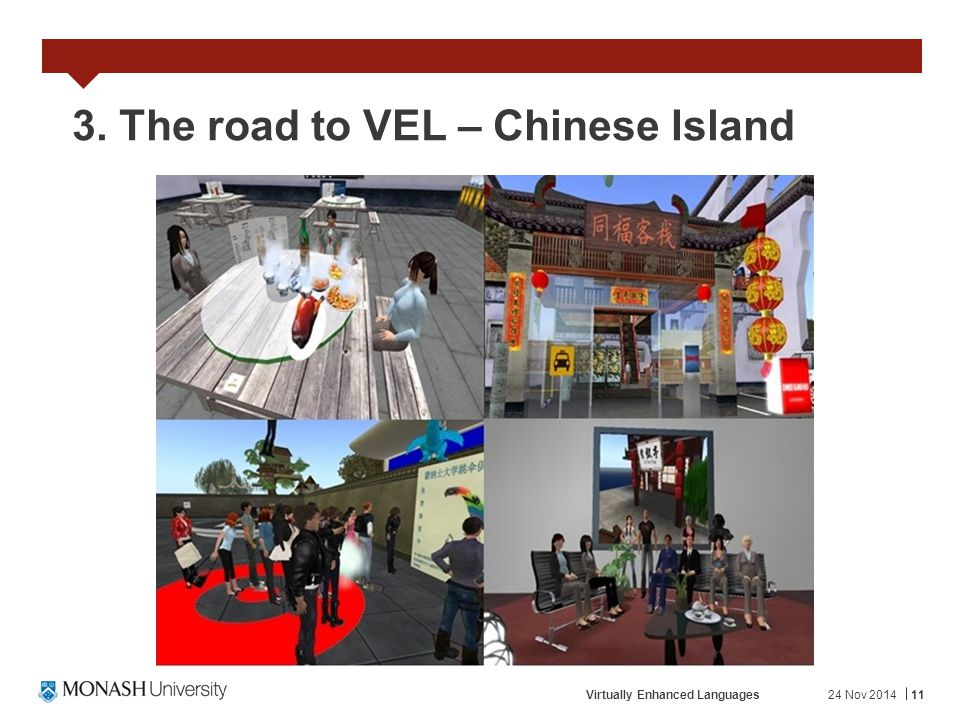 24 Nov 2014Virtually Enhanced Languages11 3. The road to VEL – Chinese Island