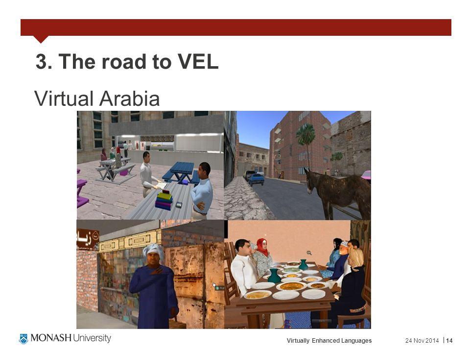 24 Nov 2014Virtually Enhanced Languages14 3. The road to VEL Virtual Arabia