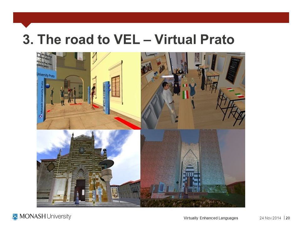 24 Nov 2014Virtually Enhanced Languages20 3. The road to VEL – Virtual Prato