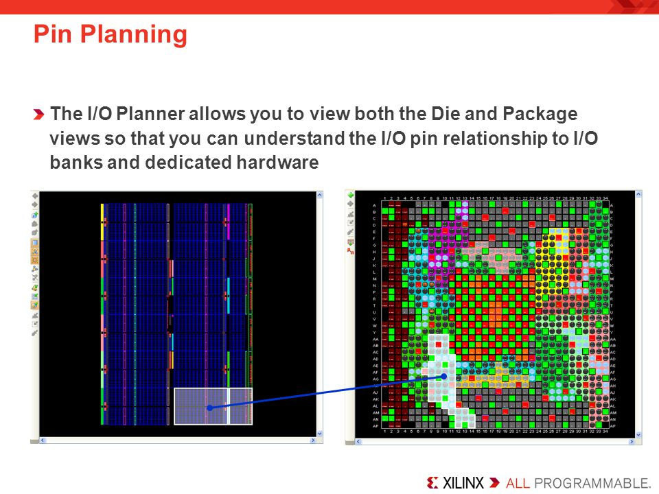 Pin Planning The I/O Planner allows you to view both the Die and Package views so that you can understand the I/O pin relationship to I/O banks and de