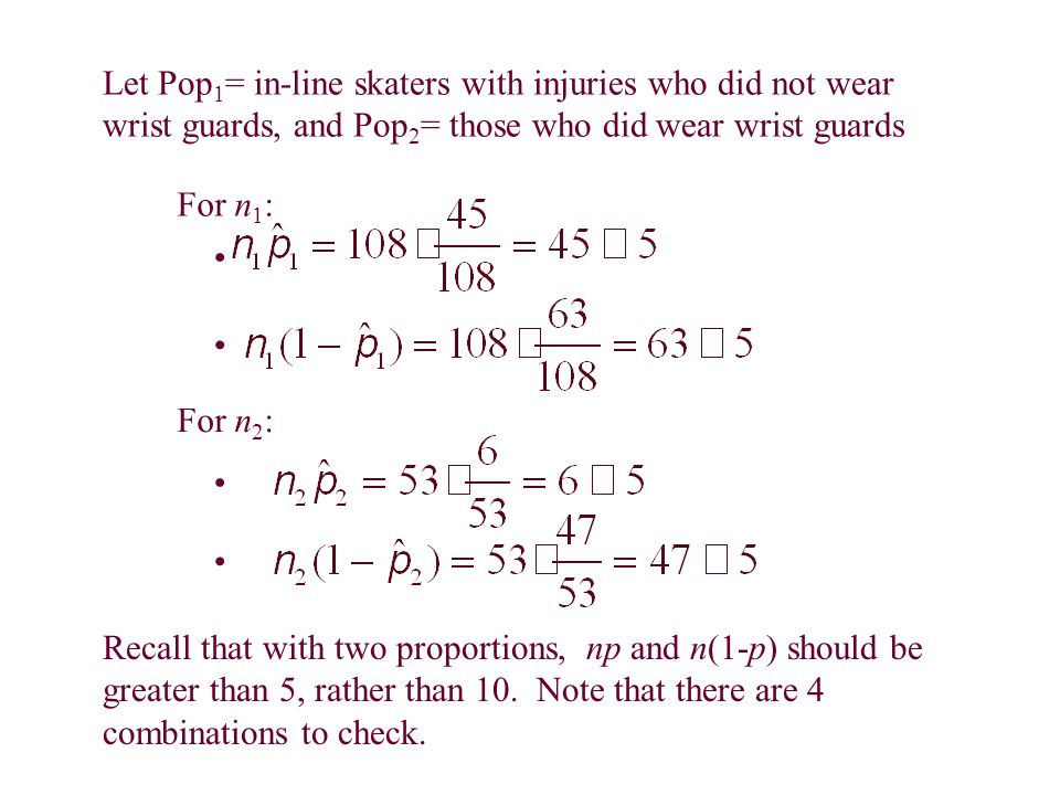 For n 1 : For n 2 : Let Pop 1 = in-line skaters with injuries who did not wear wrist guards, and Pop 2 = those who did wear wrist guards Recall that with two proportions, np and n(1-p) should be greater than 5, rather than 10.