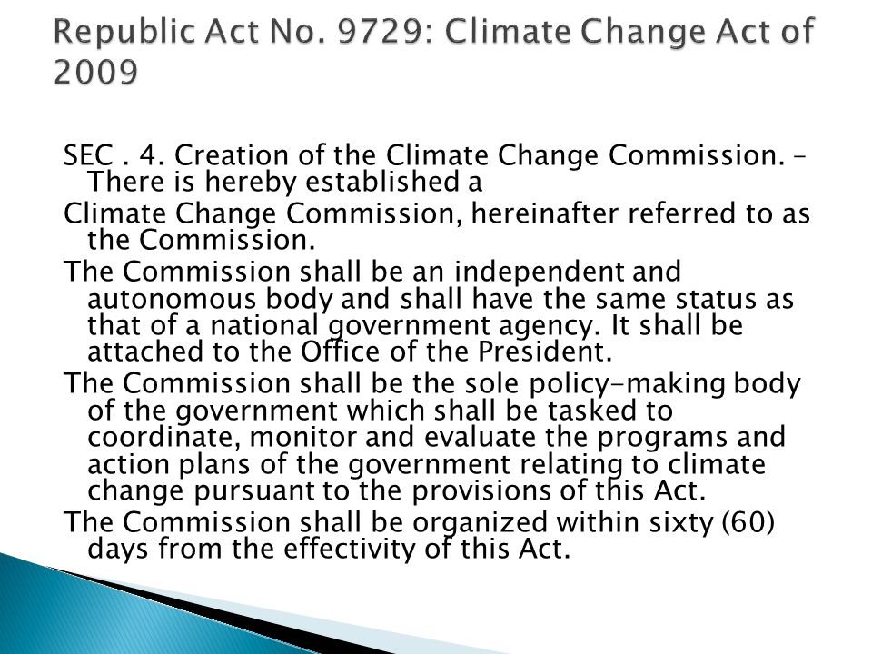 SEC.4. Creation of the Climate Change Commission.
