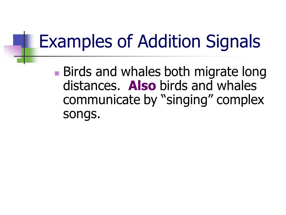 Examples of Addition Signals Birds and whales both migrate long distances.