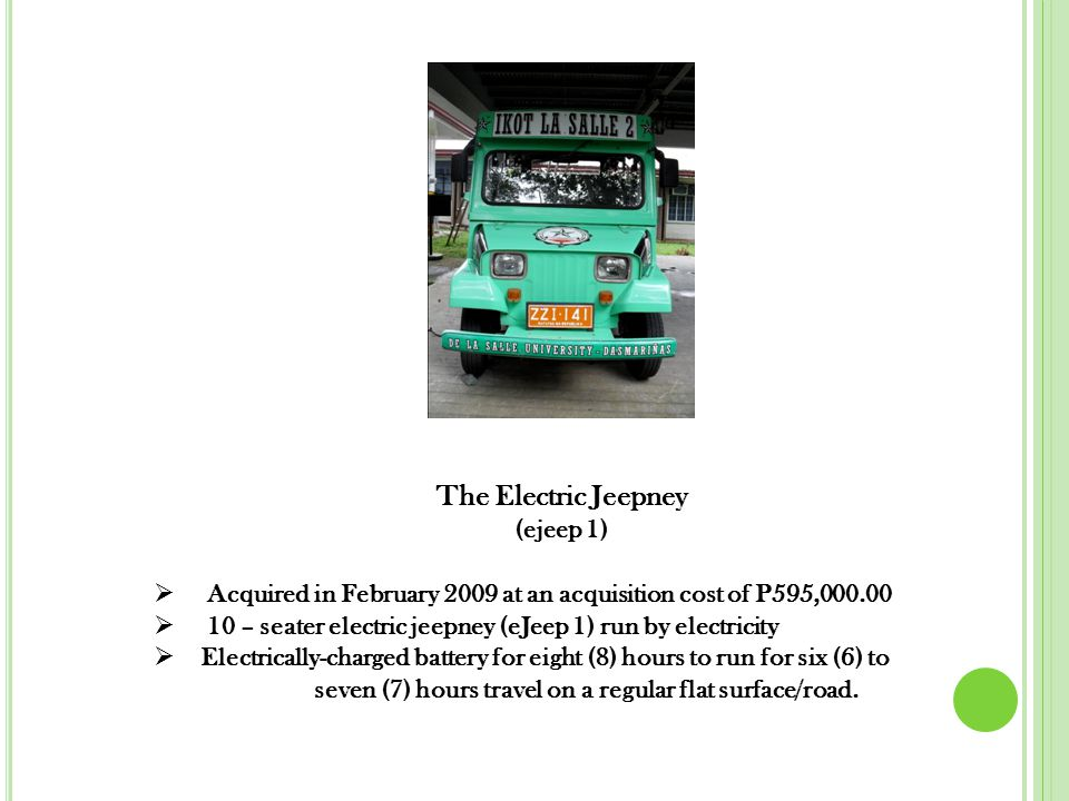  In the presentation of the results of operations of the two (2) electric jeepneys (eJeep 1 and eJeep 2), the first priority is the Salaries paid to the driver, followed by the share to One La Salle Scholarship Fund.