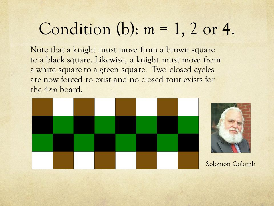 Condition (b): m = 1, 2 or 4. Note that a knight must move from a brown square to a black square.