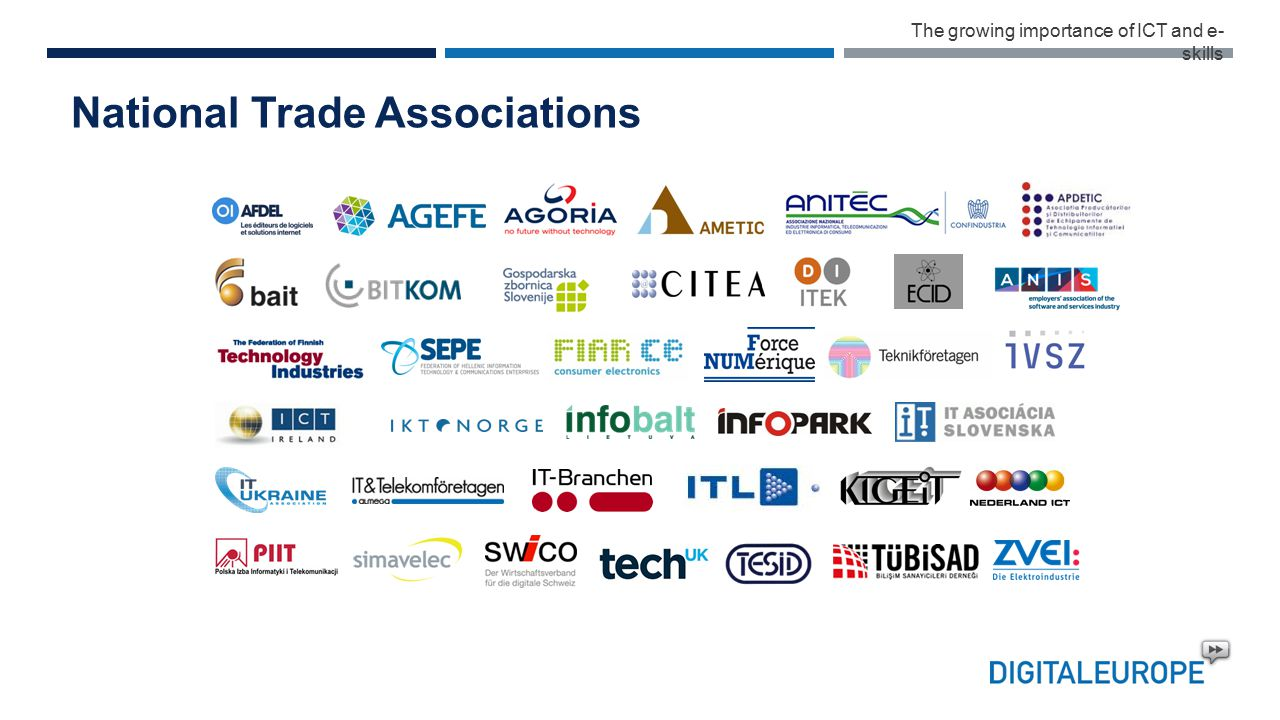 National Trade Associations The growing importance of ICT and e- skills