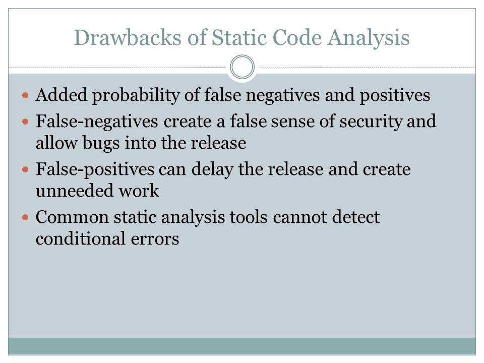 Drawbacks of Static Code Analysis Added probability of false negatives and positives False-negatives create a false sense of security and allow bugs i