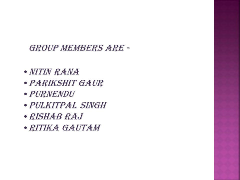 NITIN RANA PARIKSHIT GAUR PURNENDU PuLKITPAL SINGH RISHAB RAJ RITIKA GAUTAM Group MEMBERS ARE -
