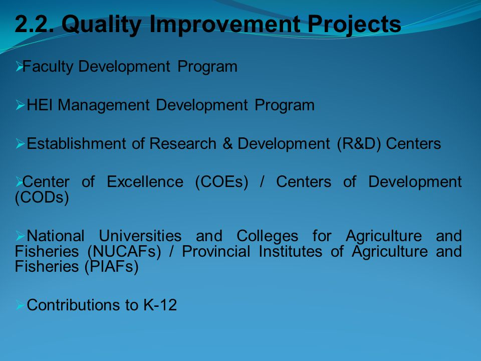 2.2. Quality Improvement Projects  Faculty Development Program  HEI Management Development Program  Establishment of Research & Development (R&D) C