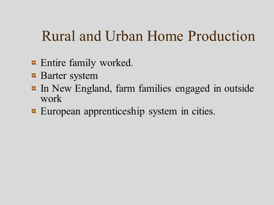 Rural and Urban Home Production Entire family worked.