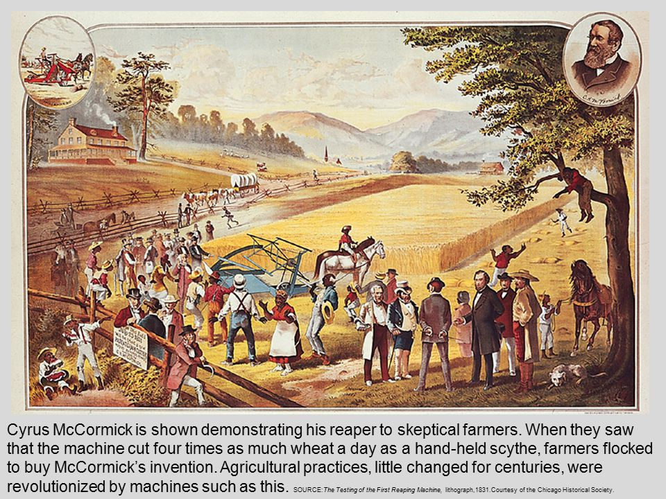 Cyrus McCormick is shown demonstrating his reaper to skeptical farmers.