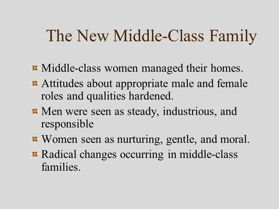 The New Middle-Class Family Middle-class women managed their homes.