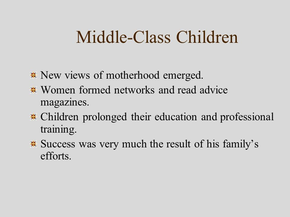Middle-Class Children New views of motherhood emerged.