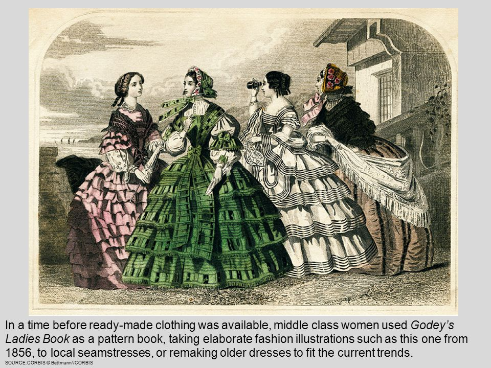 In a time before ready-made clothing was available, middle class women used Godey's Ladies Book as a pattern book, taking elaborate fashion illustrations such as this one from 1856, to local seamstresses, or remaking older dresses to fit the current trends.