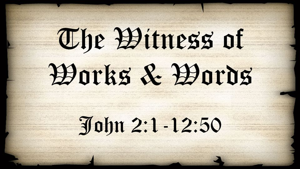 The Witness of Works & Words John 2:1-12:50