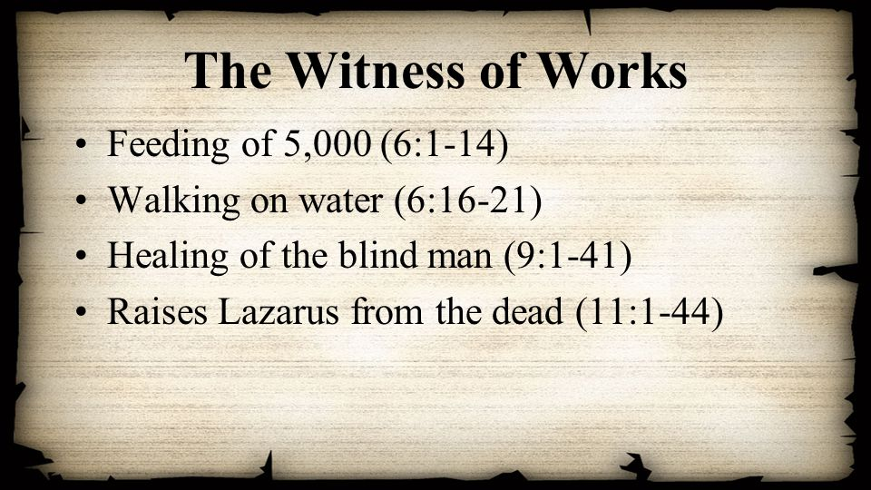 The Witness of Works Feeding of 5,000 (6:1-14) Walking on water (6:16-21) Healing of the blind man (9:1-41) Raises Lazarus from the dead (11:1-44)