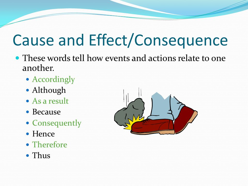 Cause and Effect/Consequence These words tell how events and actions relate to one another. Accordingly Although As a result Because Consequently Henc