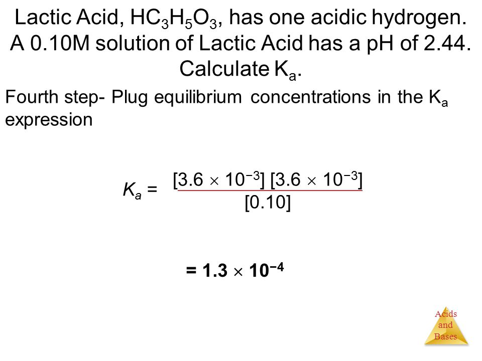 Acids and Bases Lactic Acid, HC 3 H 5 O 3, has one acidic hydrogen.