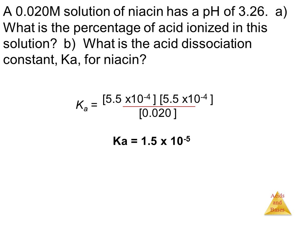 Acids and Bases A 0.020M solution of niacin has a pH of 3.26.