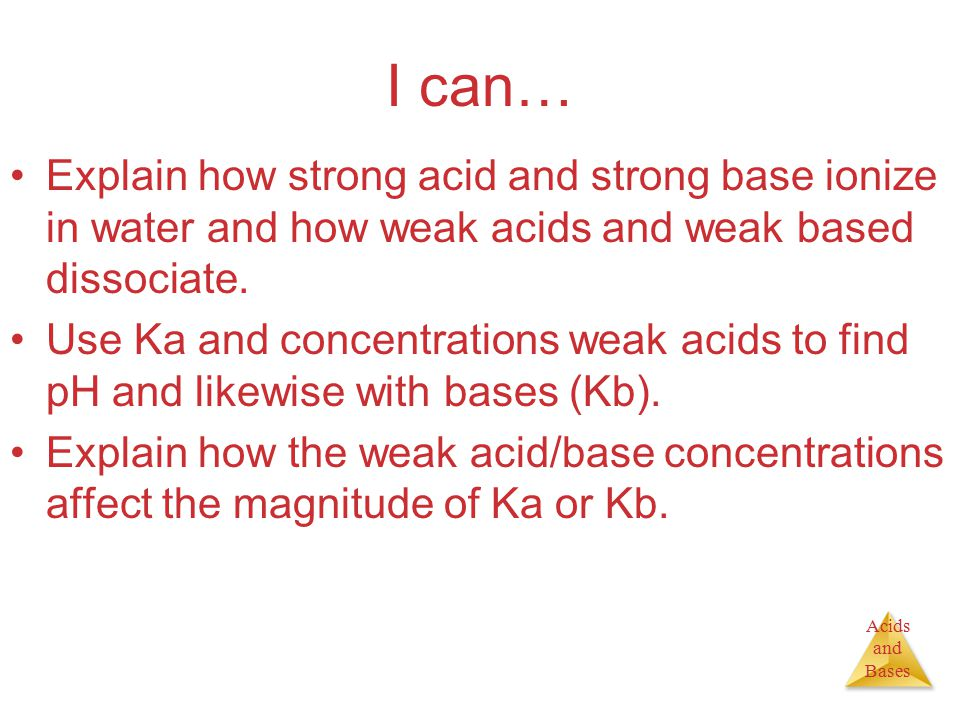 Acids and Bases Calculating K a from pH Third step- find out what the concentration of HCHO 2 is at equilibrium [HCHO 2 ], M[H + ], M[CHO 2 - ], M Initially0.1000 Change −4.2  10 -3 +4.2  10 -3 +4.2  10 −3 At Equilibrium 0.10 − 4.2  10 −3 = 0.0958 = 0.10 4.2  10 −3