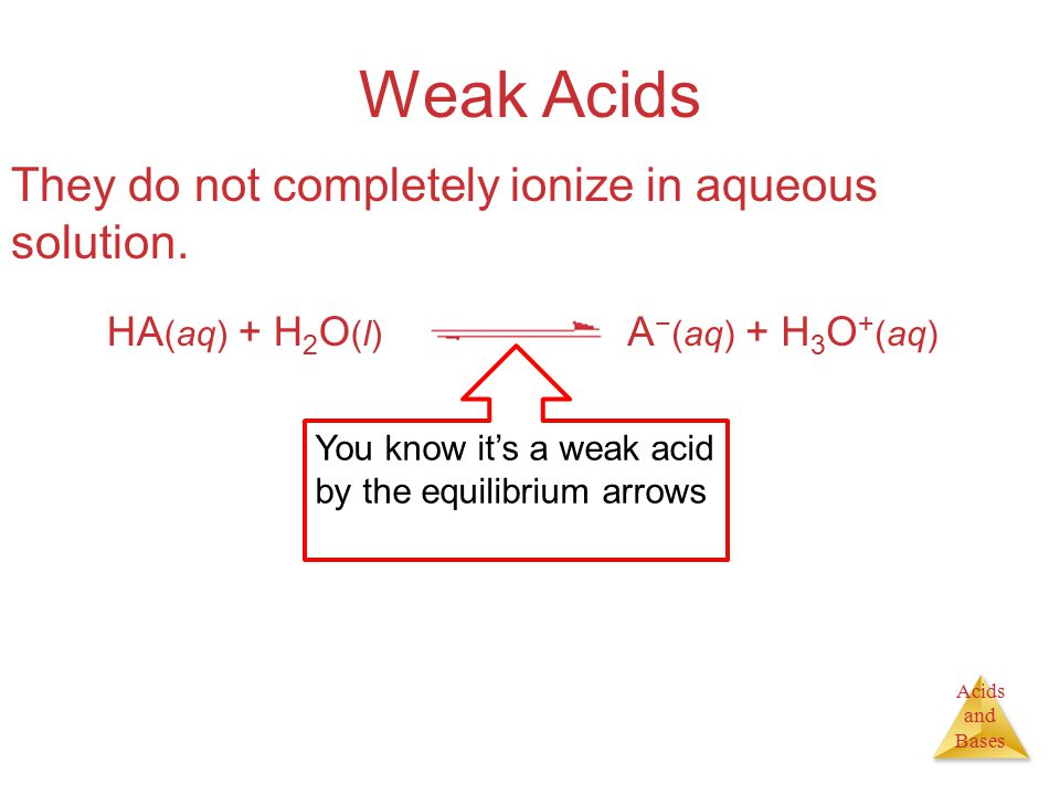 Acids and Bases Calculating pH from K a [HC 2 H 3 O 2 ], M[H 3 O + ], M[C 2 H 3 O 2  ], M Initially0.3000 Change xx +x+x+x+x At equilibrium 0.30  x  0.30 xx We are assuming that x will be very small compared to 0.30 and can, therefore, be ignored.