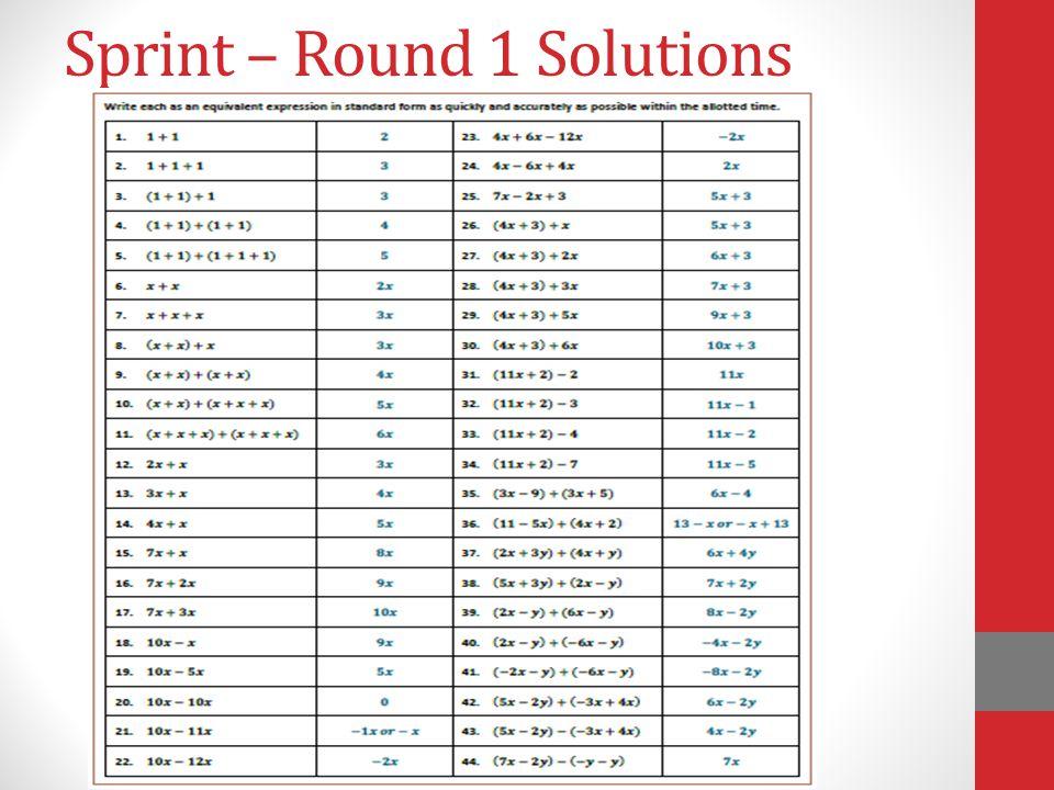 Sprint – Round 1 Solutions