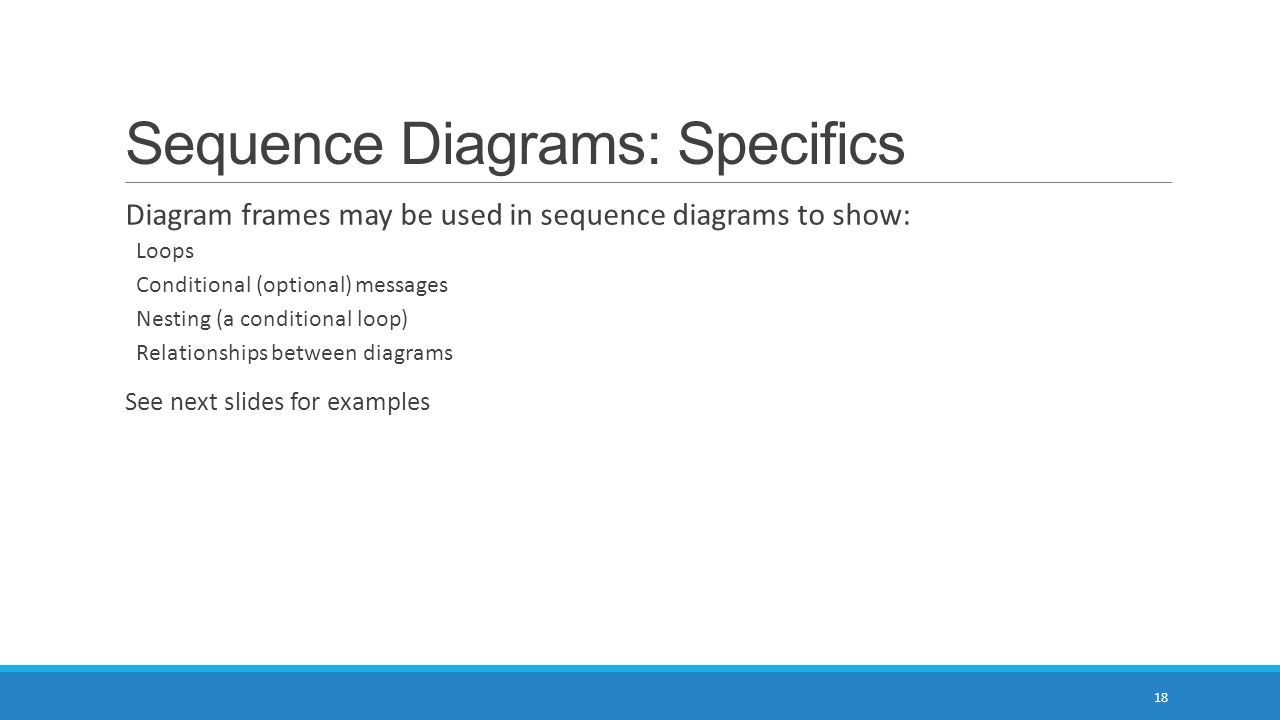 Sequence Diagrams: Specifics 18 Diagram frames may be used in sequence diagrams to show: Loops Conditional (optional) messages Nesting (a conditional loop) Relationships between diagrams See next slides for examples