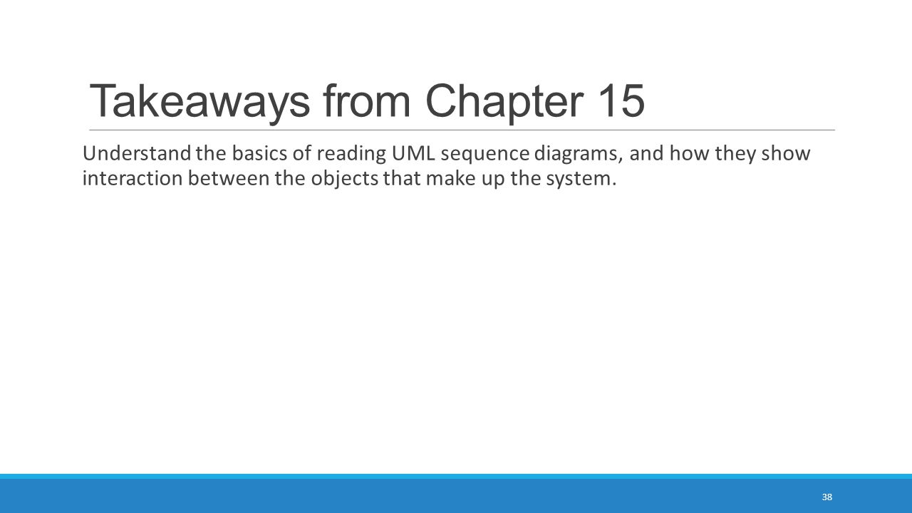 Takeaways from Chapter 15 Understand the basics of reading UML sequence diagrams, and how they show interaction between the objects that make up the s