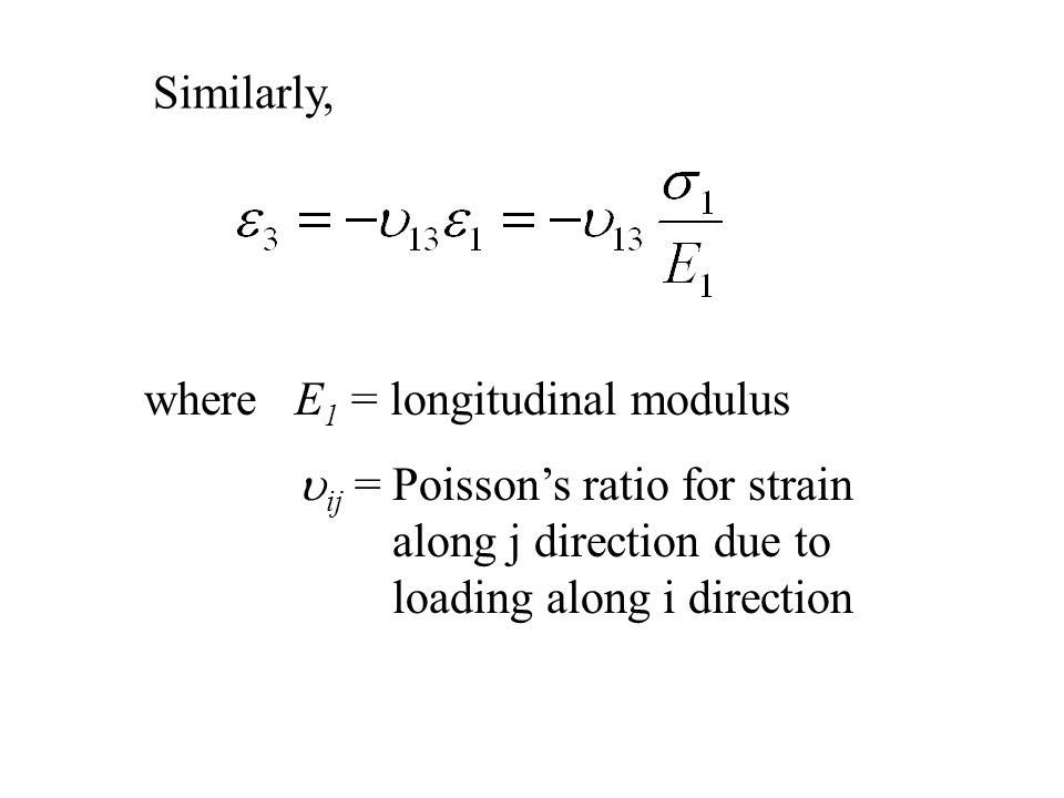 where E 1 = longitudinal modulus  ij = Poisson's ratio for strain along j direction due to loading along i direction Similarly,