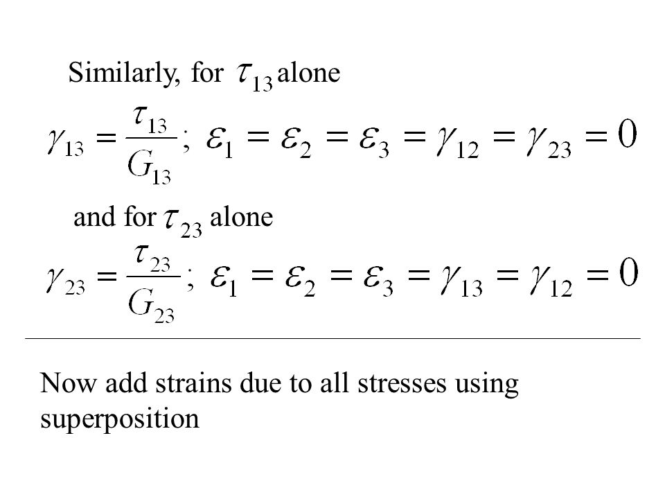 Similarly, for alone and for alone Now add strains due to all stresses using superposition
