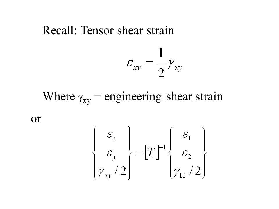 Recall: Tensor shear strain Where  xy = engineering shear strain or