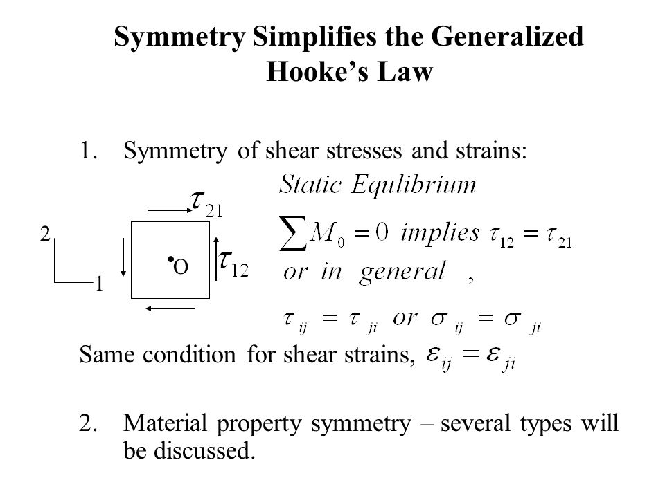 Symmetry Simplifies the Generalized Hooke's Law 1.Symmetry of shear stresses and strains: Same condition for shear strains, 2.Material property symmet