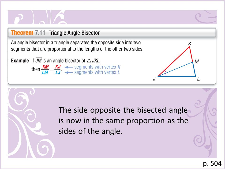 p. 504 The side opposite the bisected angle is now in the same proportion as the sides of the angle.