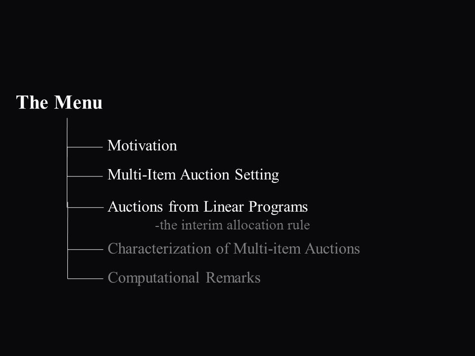 The Menu Motivation Auctions from Linear Programs -the interim allocation rule Multi-Item Auction Setting Characterization of Multi-item Auctions Computational Remarks
