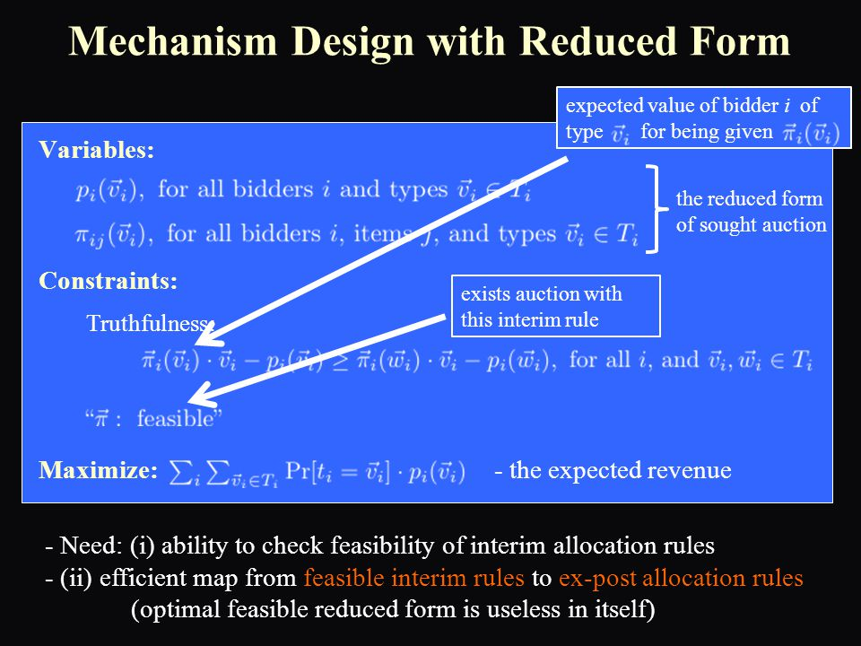 Variables: Constraints: Maximize: - the expected revenue Mechanism Design with Reduced Form Truthfulness: - Need: (i) ability to check feasibility of interim allocation rules - (ii) efficient map from feasible interim rules to ex-post allocation rules (optimal feasible reduced form is useless in itself) the reduced form of sought auction expected value of bidder i of type for being given exists auction with this interim rule