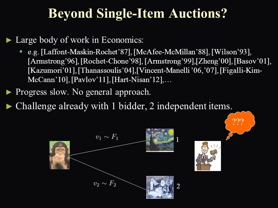 Summary ► ► Compared to Single-Item auctions, optimal multi-item auctions:   have richer structure   are computationally more challenging ► ► Understanding Interim allocation rule allowed us to characterize the structure of optimal multi-item auctions for additive bidders:   The revenue optimal auction is a virtual-welfare maximizer.   Difference to Myerson: virtual transformation randomized.