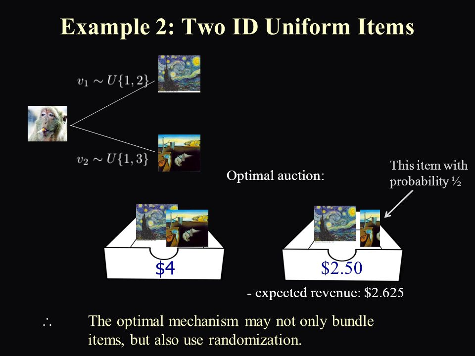 Example 2: Two ID Uniform Items Optimal auction:  The optimal mechanism may not only bundle items, but also use randomization.