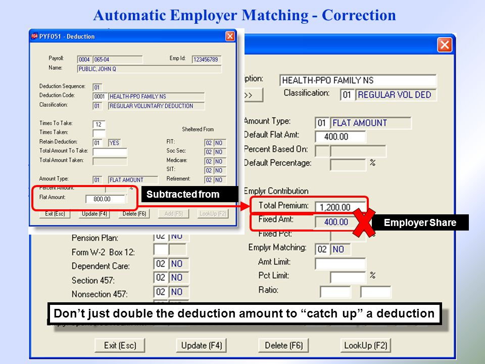 Automatic Employer Matching - Correction Subtracted from Employer Share Don't just double the deduction amount to catch up a deduction