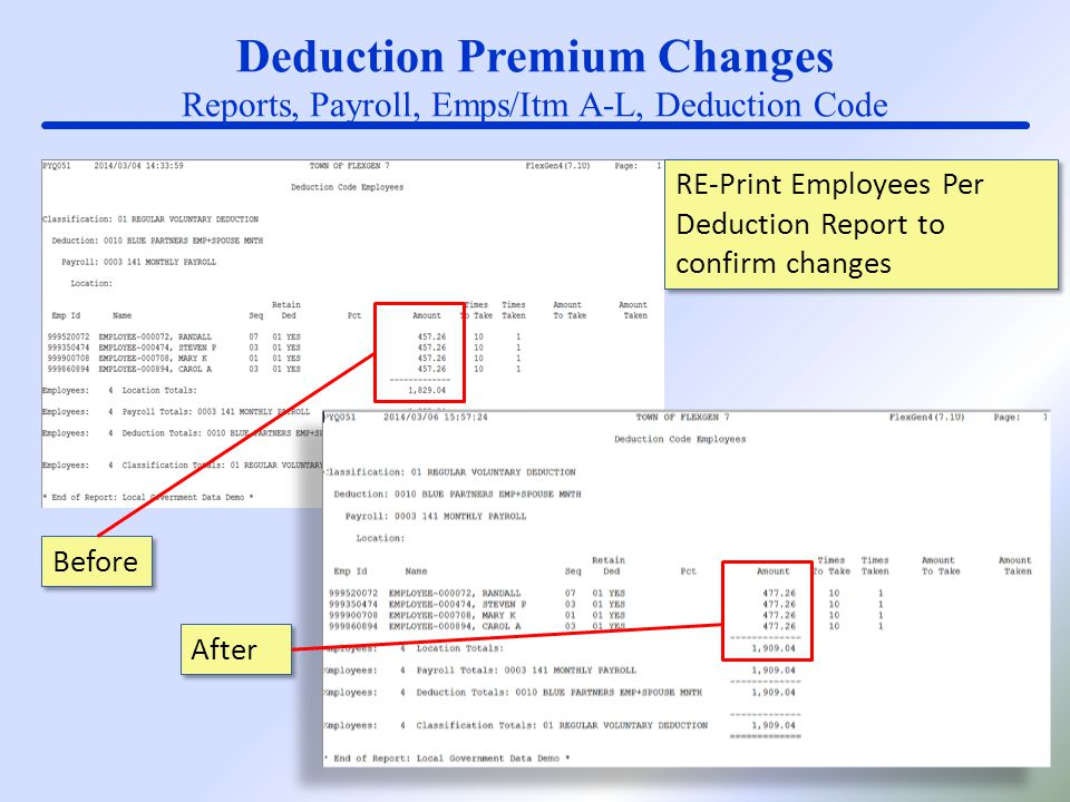 Deduction Premium Changes Reports, Payroll, Emps/Itm A-L, Deduction Code RE-Print Employees Per Deduction Report to confirm changes Before After