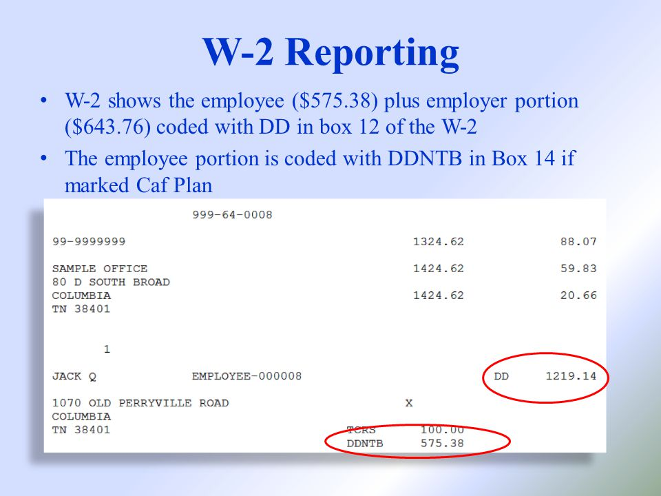 W-2 shows the employee ($575.38) plus employer portion ($643.76) coded with DD in box 12 of the W-2 The employee portion is coded with DDNTB in Box 14 if marked Caf Plan