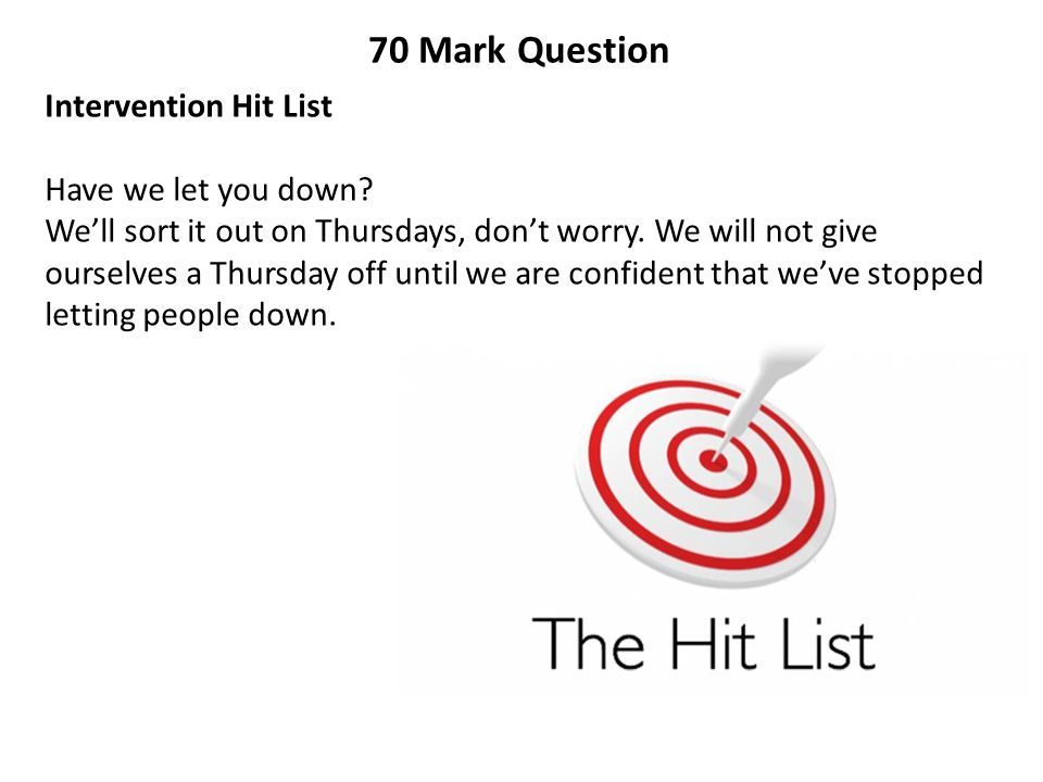 70 Mark Question Intervention Hit List Have we let you down? We'll sort it out on Thursdays, don't worry. We will not give ourselves a Thursday off un