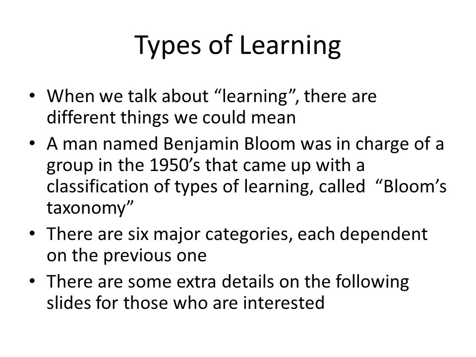 Bloom's Taxonomy (1) Knowledge: Recall data or information.