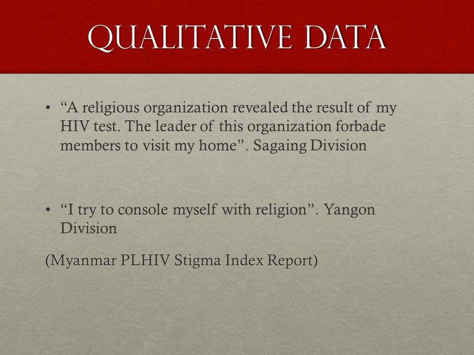 Qualitative DATA A religious organization revealed the result of my HIV test.