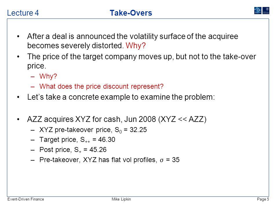 Event-Driven FinanceMike LipkinPage 6 Lecture 4 Take-Overs The following might be a typical vol profile after the announcement: –  (Jun 30) = 8,  (Jun 32.5) = 10,  (Jun 35) = 35,  (Jun 37.5) = 60,  (Jun 40) = 75,  (Jun 45) = 75,  (Jun 50) = 8.
