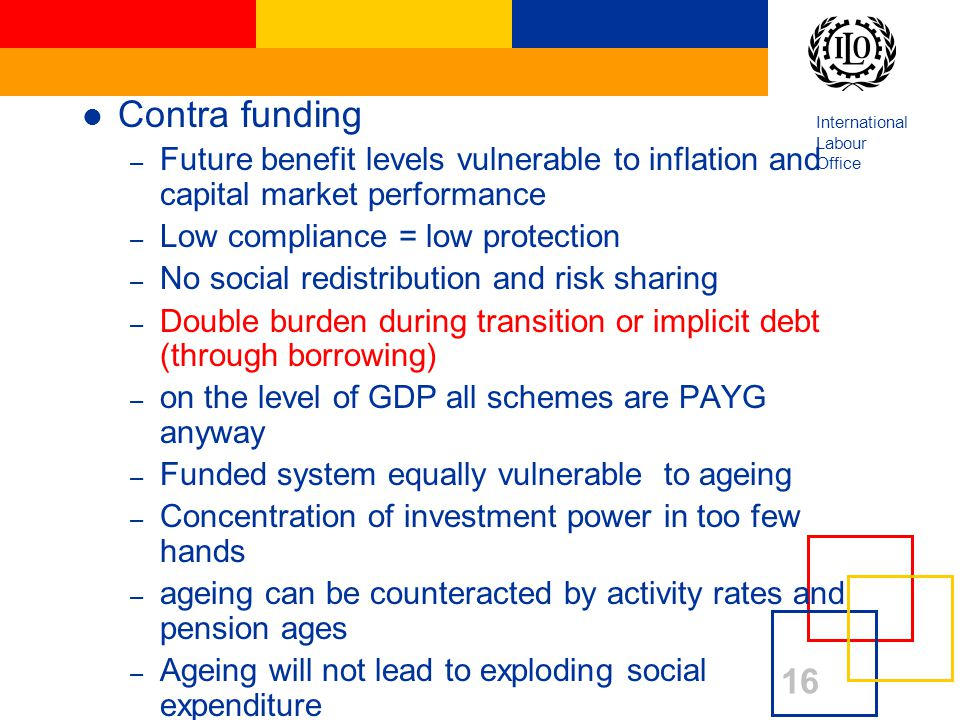 International Labour Office Contra funding – Future benefit levels vulnerable to inflation and capital market performance – Low compliance = low protection – No social redistribution and risk sharing – Double burden during transition or implicit debt (through borrowing) – on the level of GDP all schemes are PAYG anyway – Funded system equally vulnerable to ageing – Concentration of investment power in too few hands – ageing can be counteracted by activity rates and pension ages – Ageing will not lead to exploding social expenditure 16