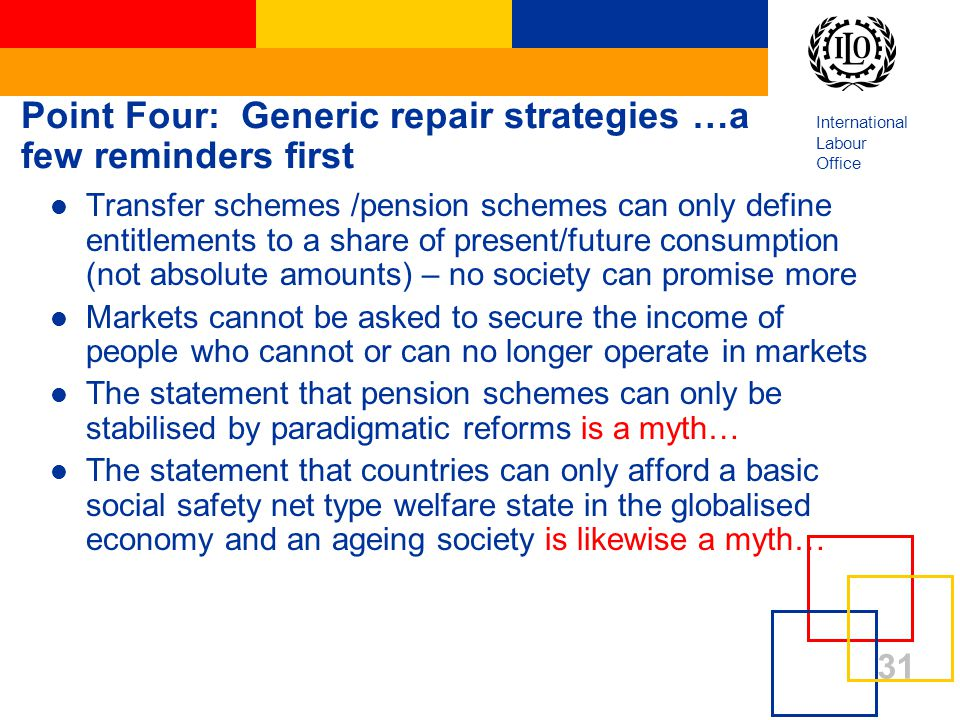 International Labour Office 31 Point Four: Generic repair strategies …a few reminders first Transfer schemes /pension schemes can only define entitlements to a share of present/future consumption (not absolute amounts) – no society can promise more Markets cannot be asked to secure the income of people who cannot or can no longer operate in markets The statement that pension schemes can only be stabilised by paradigmatic reforms is a myth… The statement that countries can only afford a basic social safety net type welfare state in the globalised economy and an ageing society is likewise a myth…