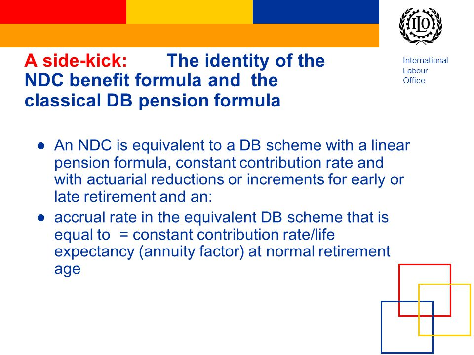 International Labour Office A side-kick:The identity of the NDC benefit formula and the classical DB pension formula An NDC is equivalent to a DB sche