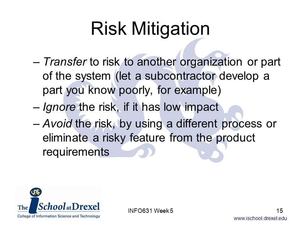 www.ischool.drexel.edu INFO631 Week 515 Risk Mitigation –Transfer to risk to another organization or part of the system (let a subcontractor develop a