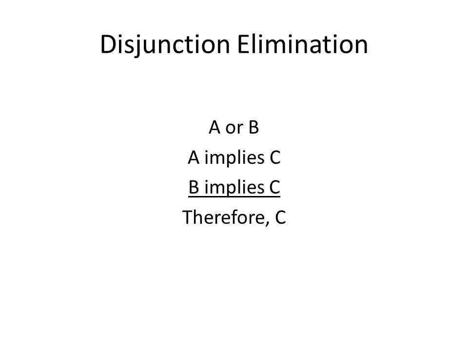 Disjunction Elimination A or B A implies C B implies C Therefore, C